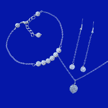 Load image into Gallery viewer, handmade pave crystal drop necklace accompanied by a bar bracelet and a pair of drop earrings, silver clear or custom color