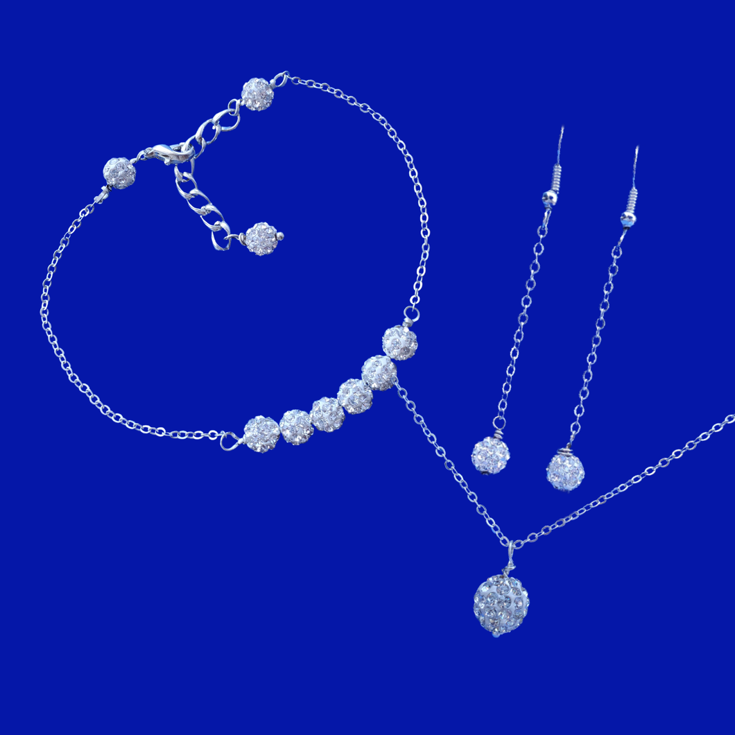 handmade pave crystal drop necklace accompanied by a bar bracelet and a pair of drop earrings, silver clear or custom color