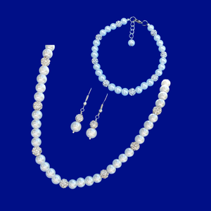 handmade pearl and crystal necklace accompanied by a matching bracelet and drop earrings