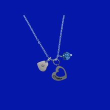 Load image into Gallery viewer, Monogram Mother Pave Charm Necklace, blue or custom color