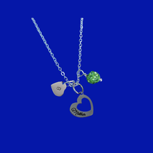 Load image into Gallery viewer, Monogram Mother Pave Charm Necklace, peridot (green) or custom color