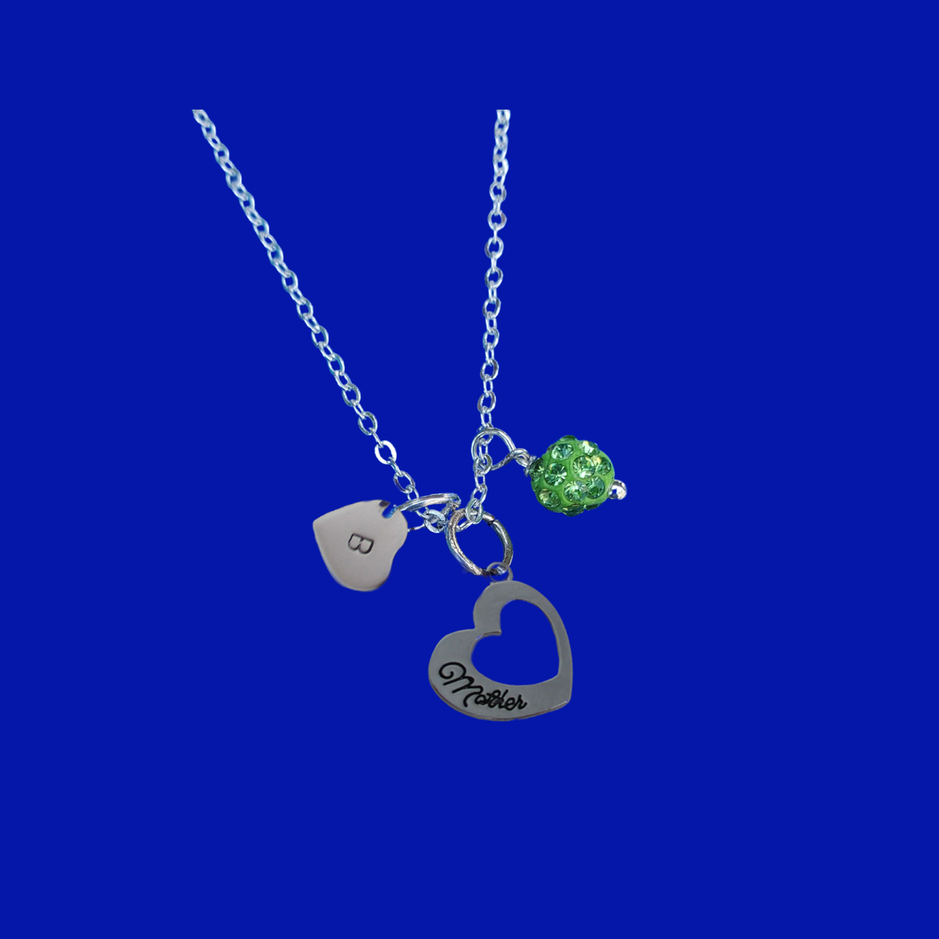 Monogram Mother Pave Charm Necklace, peridot (green) or custom color