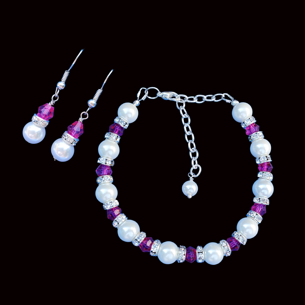 Bracelet Sets - Bridal Sets - Pearl Jewelry Set, handmade pearl and swarovski crystal bracelet accompanied by a pair of drop earrings