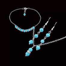 Load image into Gallery viewer, handmade crystal drop necklace accompanied by a bar bracelet and a pair of drop earrings