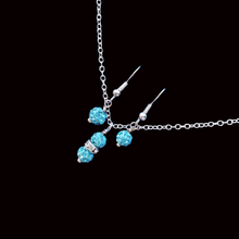 Load image into Gallery viewer, handmade crystal drop necklace accompanied by a pair of earrings