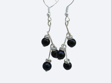 Load image into Gallery viewer, handmade pearl and crystal drop earrings