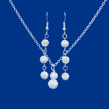 Load image into Gallery viewer, handmade crystal drop necklace accompanied by a pair of drop earrings