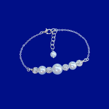 Load image into Gallery viewer, handmade pearl and crystal bar bracelet, silver and white or silver and custom color