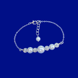 handmade pearl and crystal bar bracelet, silver and white or silver and custom color