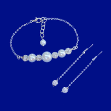 Load image into Gallery viewer, Pearl Set - Bracelet Sets - Bridal Party Gifts - handmade pearl and crystal bar bracelet accompanied by a pair of crystal drop earrings, white and silver clear or silver clear and custom color