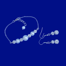 Load image into Gallery viewer, Pearl Set - Bridal Jewelry Set - Bracelet Sets, handmade pearl and crystal bar bracelet accompanied by a pair of crystal drop earrings, white and silver or custom color