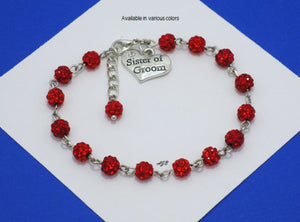 Sister of the Groom Crystal Charm Bracelet, Light siam