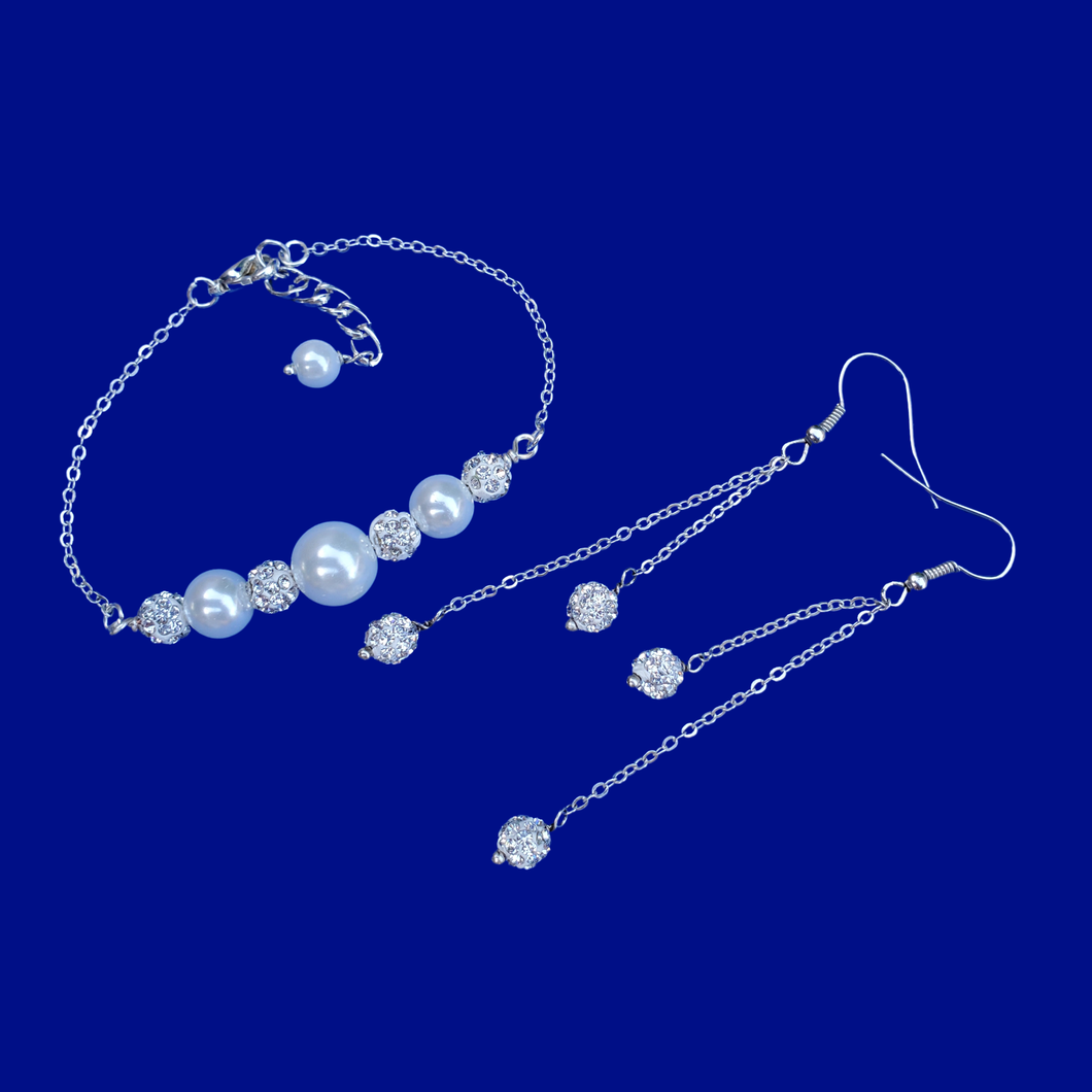 pearl and crystal bar bracelet and a matching pair of multi-strand crystal drop earrings
