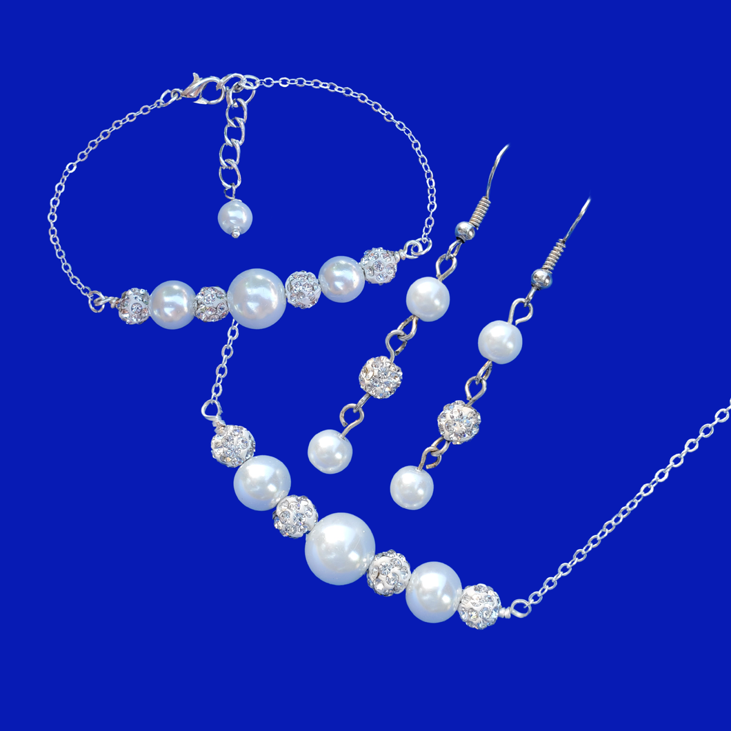Jewelry Sets - Necklace Set - Pearl Set, handmade pearl and crystal bar necklace accompanied by a matching bar bracelet and a pair of drop earrings
