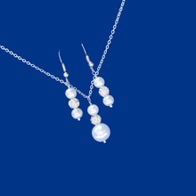 Load image into Gallery viewer, handmade pearl and crystal drop necklace accompanied by a pair of drop earrings