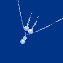 Load image into Gallery viewer, pearl and crystal drop necklace accompanied by a pair of crystal drop earrings