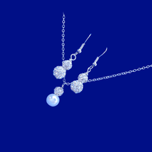 Load image into Gallery viewer, handmade crystal and pearl drop necklace accompanied by a pair of crystal drop earrings