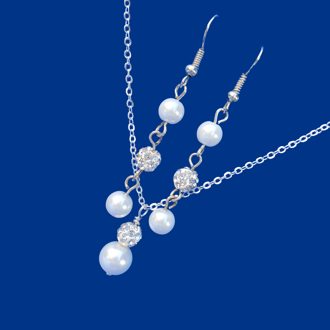 handmade pearl and crystal drop necklace accompanied by a pair of drop earrings