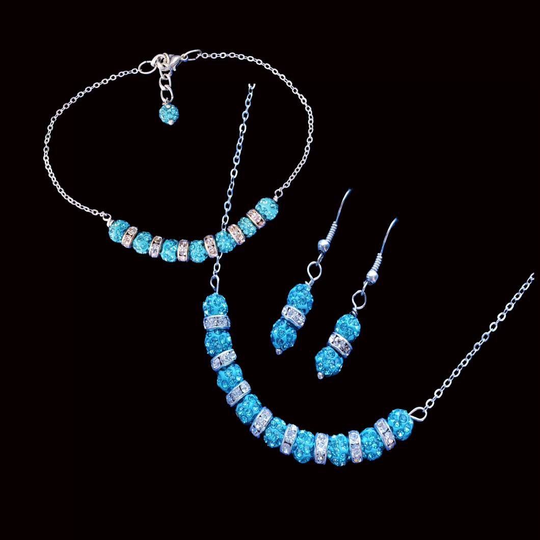 handmade crystal drop necklace accompanied by a bar bracelet and drop earrings