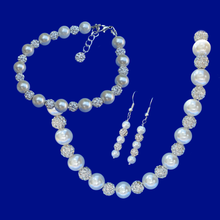 Load image into Gallery viewer, handmade crystal and pearl necklace accompanied by a matching bracelet and a pair of drop earrings
