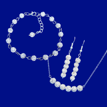 Load image into Gallery viewer, crystal bar necklace bracelet drop earring jewelry set, silver clear or custom color