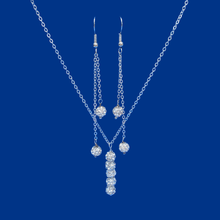 Load image into Gallery viewer, crystal drop necklace multi strand drop earring jewelry set, silver or custom color