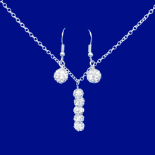Load image into Gallery viewer, handmade pave crystal drop necklace accompanied by a matching pair of drop earrings