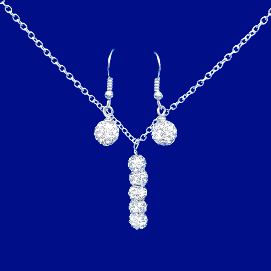 handmade pave crystal drop necklace accompanied by a matching pair of drop earrings