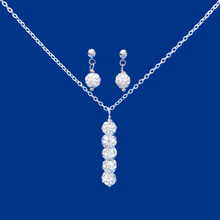 Load image into Gallery viewer, handmade crystal drop necklace accompanied by a pair of stud earrings