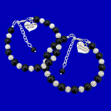 Load image into Gallery viewer, handmade mother of the bride and mother of the groom pearl and crystal charm bracelets, black and silver or silver and custom color
