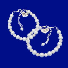 Load image into Gallery viewer, handmade mother of the bride and mother of the groom pearl and crystal charm bracelets, white and silver or silver and custom color