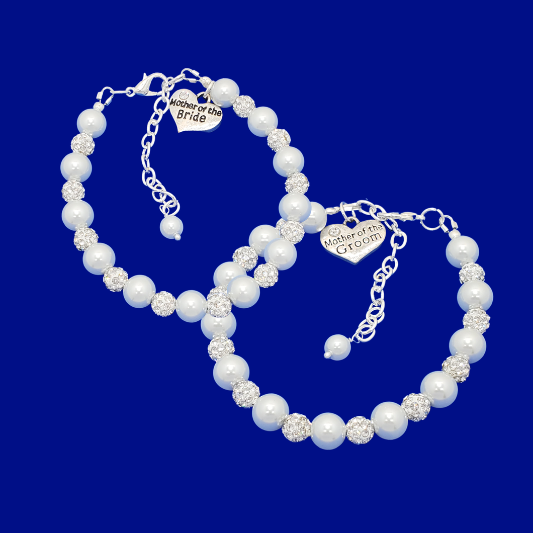 handmade mother of the bride and mother of the groom pearl and crystal charm bracelets, white and silver or silver and custom color
