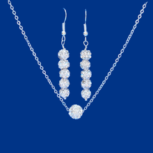 Load image into Gallery viewer, handmade floating crystal necklace accompanied by a pair of drop earrings