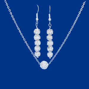 handmade floating crystal necklace accompanied by a pair of drop earrings