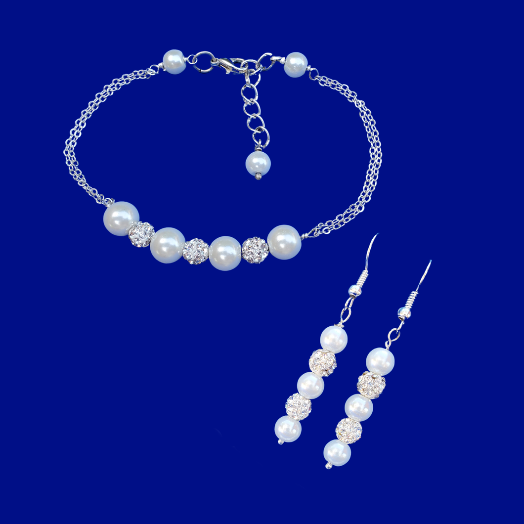 Proposal Bridesmaids - Bracelet Sets - Bridal Sets - handmade pearl and crystal bar bracelet accompanied by a pair of drop earrings