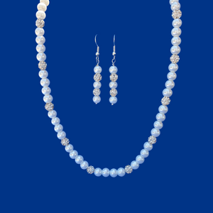 Pearl Jewelry Set - Necklace Set - Necklace And Earring Set, handmade pearl and crystal necklace accompanied by a pair of drop earrings, white or custom color