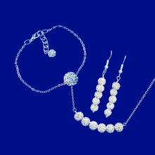 Load image into Gallery viewer, handmade crystal bar necklace accompanied by a floating bracelet and a pair drop earrings, silver clear or custom color