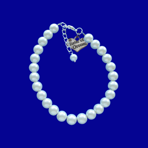 sister of the groom pearl charm bracelet