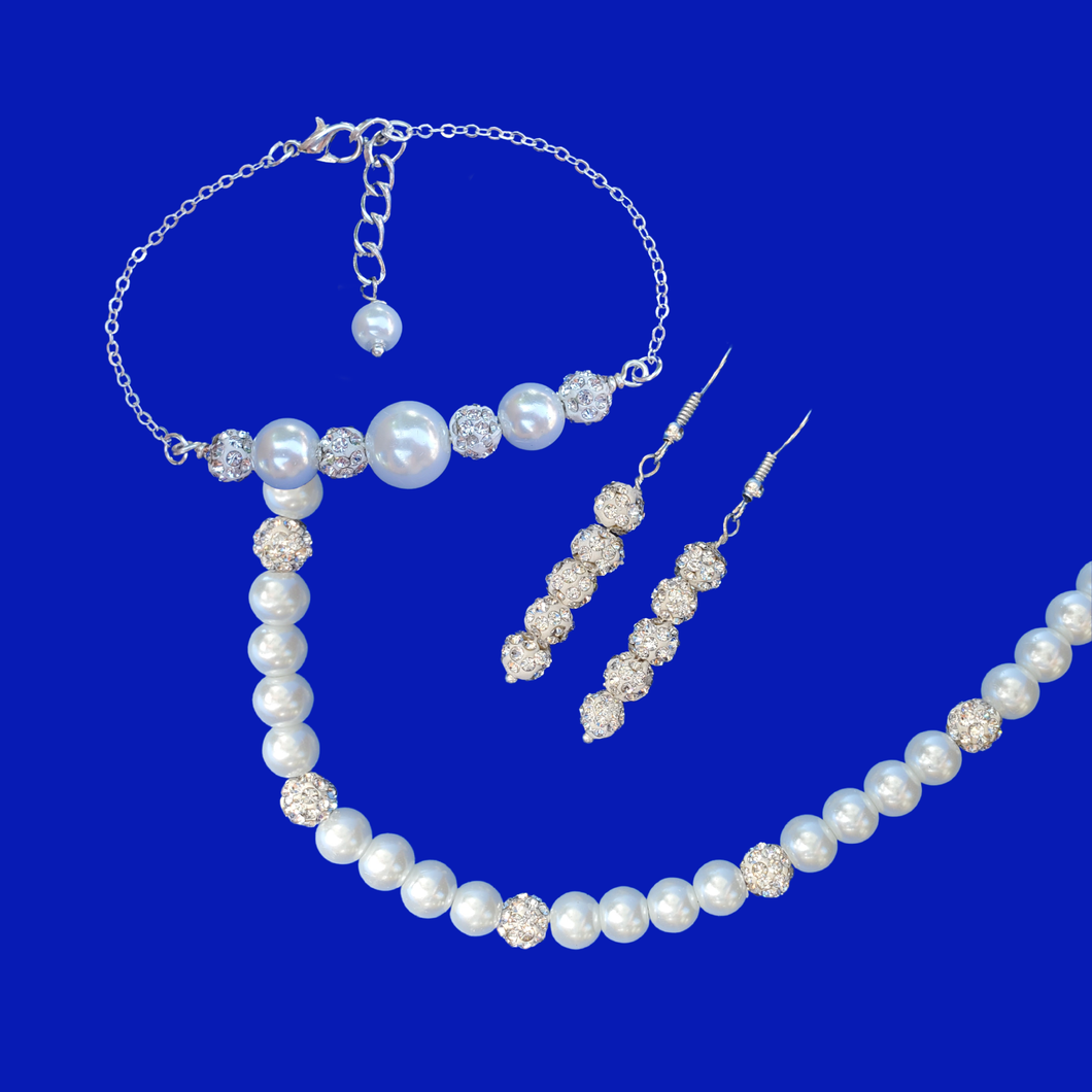 pearl jewelry set - white and silver clear or custom color