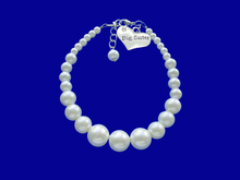 Load image into Gallery viewer, handmade big sister handmade pearl charm bracelet