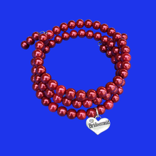 Load image into Gallery viewer, bridesmaid pearl expandable multi layer wrap charm bracelet, bordeaux red or custom color