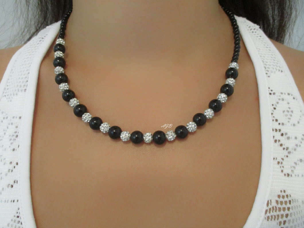 pearl crystal necklace, silver and black or silver and custom color