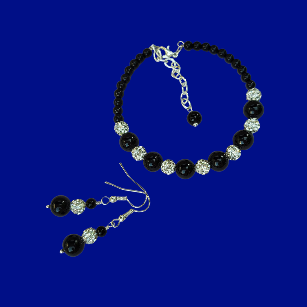 Pearl crystal bracelet earring Jewelry Set, black and silver or silver and custom color