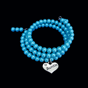 auntie expandable, multi-layer, wrap pearl charm bracelet, aquamarine blue or custom color