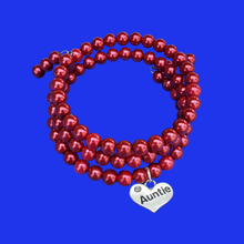 Load image into Gallery viewer, auntie expandable, multi-layer, wrap pearl charm bracelet, bordeaux red or custom color