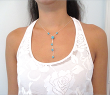 Load image into Gallery viewer, Aquamarine Blue Pave Drop Necklace