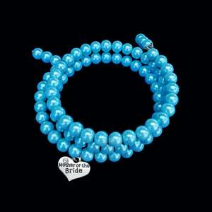 Mother of the Bride Expandable Multi-Layer Wrap Charm Bracelet, aquamarine blue or custom color