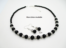 Load image into Gallery viewer, Black Silver Necklace Drop Earring Jewelry Set