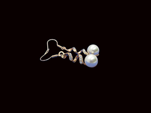 pair of rose gold spiral drop earrings with an inset pearl