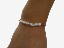 Load image into Gallery viewer, Fresh Water Pearl Bracelet - 18K Bracelet - Bracelets, 18k fresh water pearl bar bracelet